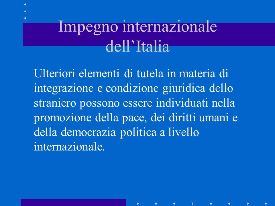 Impegno internazionale dell'Italia Ulteriori elementi di tutela in materia di integrazione e condizione giuridica dello straniero possono essere indiv