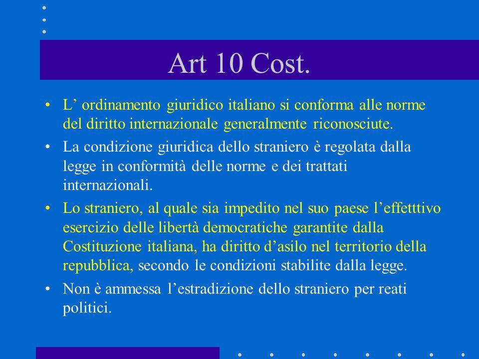 Art 10 Cost. L' ordinamento giuridico italiano si conforma alle norme del diritto internazionale generalmente riconosciute. La condizione giuridica de