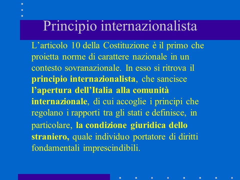 Principio internazionalista L'articolo 10 della Costituzione è il primo che proietta norme di carattere nazionale in un contesto sovranazionale. In es