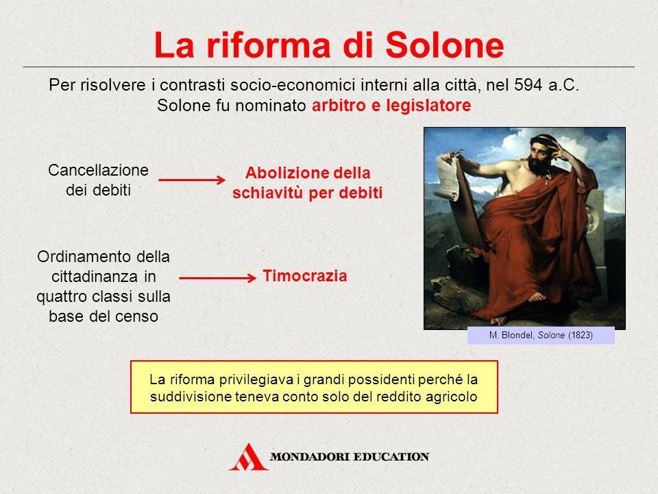 La riforma di Solone Per risolvere i contrasti socio-economici interni alla città, nel 594 a.C. Solone fu nominato arbitro e legislatore La riforma pr