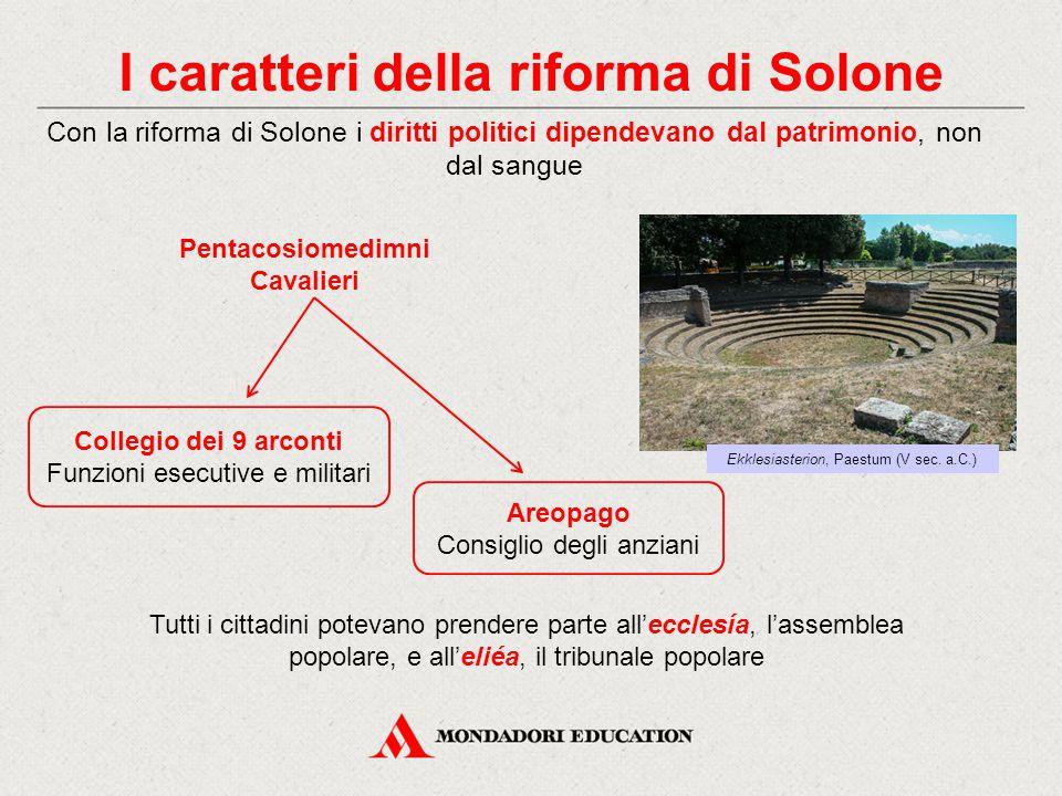 I caratteri della riforma di Solone Con la riforma di Solone i diritti politici dipendevano dal patrimonio, non dal sangue Pentacosiomedimni Cavalieri