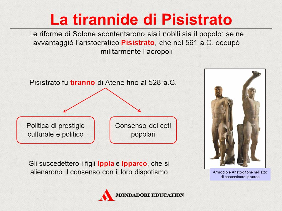 La tirannide di Pisistrato Le riforme di Solone scontentarono sia i nobili sia il popolo: se ne avvantaggiò l'aristocratico Pisistrato, che nel 561 a.
