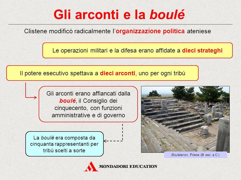 Gli arconti e la boulé Clistene modificò radicalmente l'organizzazione politica ateniese Il potere esecutivo spettava a dieci arconti, uno per ogni tr