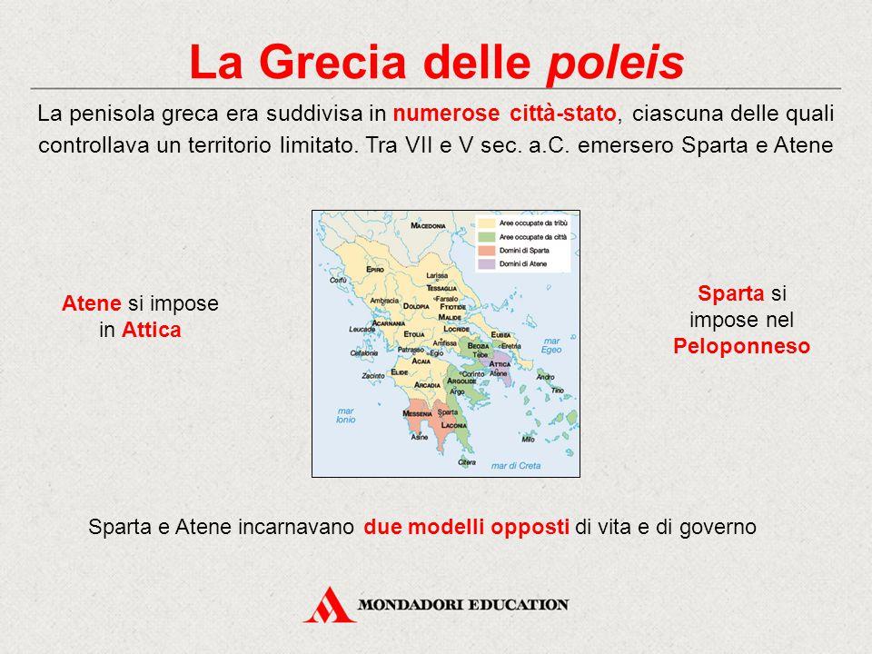 La Grecia delle poleis La penisola greca era suddivisa in numerose città-stato, ciascuna delle quali controllava un territorio limitato. Tra VII e V s