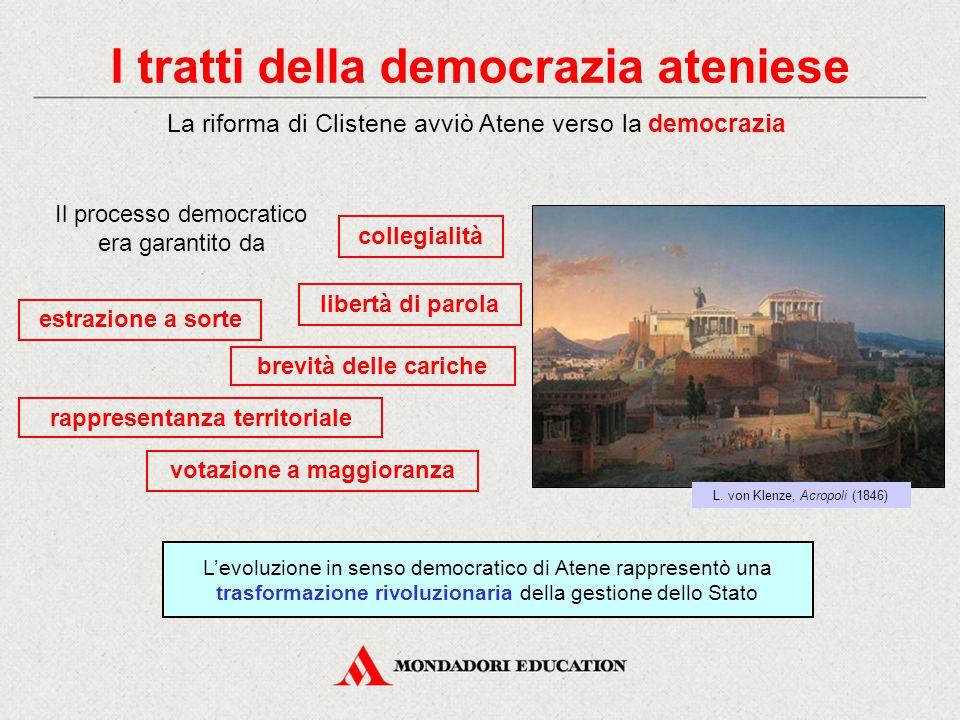 I tratti della democrazia ateniese La riforma di Clistene avviò Atene verso la democrazia L'evoluzione in senso democratico di Atene rappresentò una t