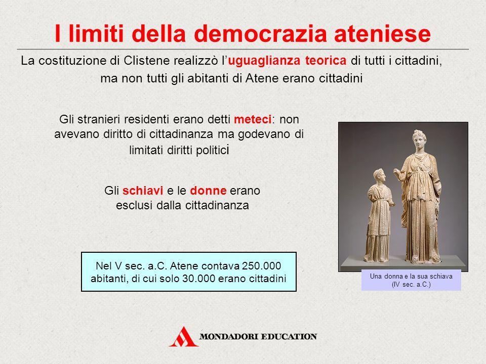 I limiti della democrazia ateniese La costituzione di Clistene realizzò l'uguaglianza teorica di tutti i cittadini, ma non tutti gli abitanti di Atene