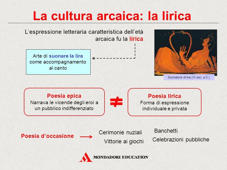 La cultura arcaica: la lirica L'espressione letteraria caratteristica dell'età arcaica fu la lirica Arte di suonare la lira come accompagnamento al ca