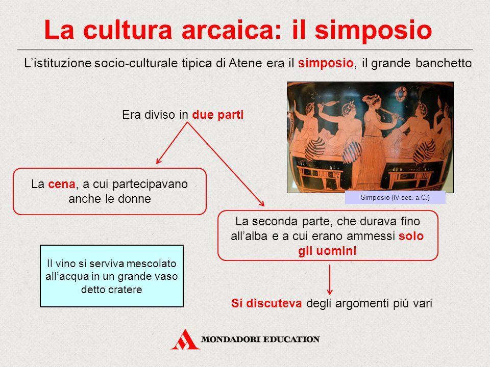 La cultura arcaica: il simposio L'istituzione socio-culturale tipica di Atene era il simposio, il grande banchetto La cena, a cui partecipavano anche