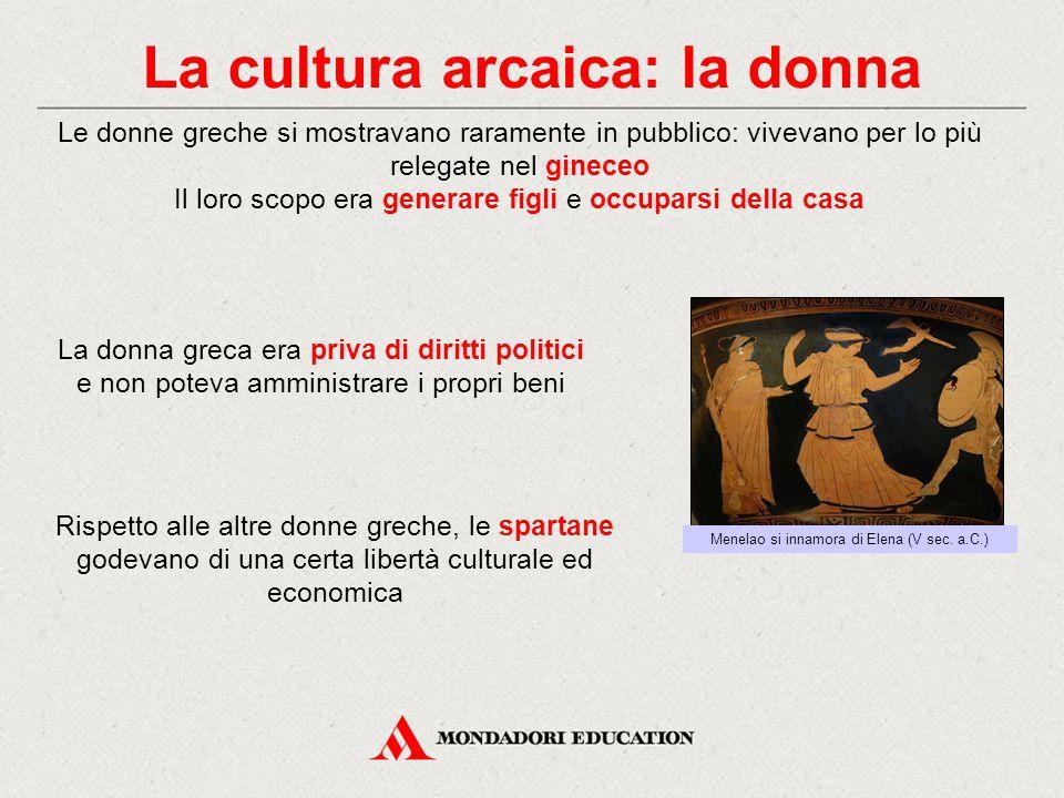 La cultura arcaica: la donna Le donne greche si mostravano raramente in pubblico: vivevano per lo più relegate nel gineceo Il loro scopo era generare