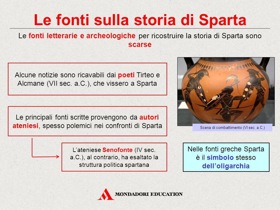 Le fonti sulla storia di Sparta Le fonti letterarie e archeologiche per ricostruire la storia di Sparta sono scarse Alcune notizie sono ricavabili dai