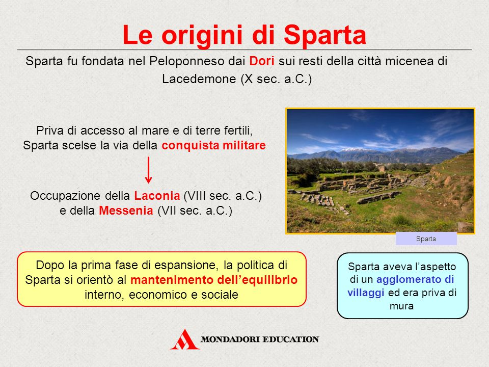 Le origini di Sparta Sparta fu fondata nel Peloponneso dai Dori sui resti della città micenea di Lacedemone (X sec. a.C.) Priva di accesso al mare e d