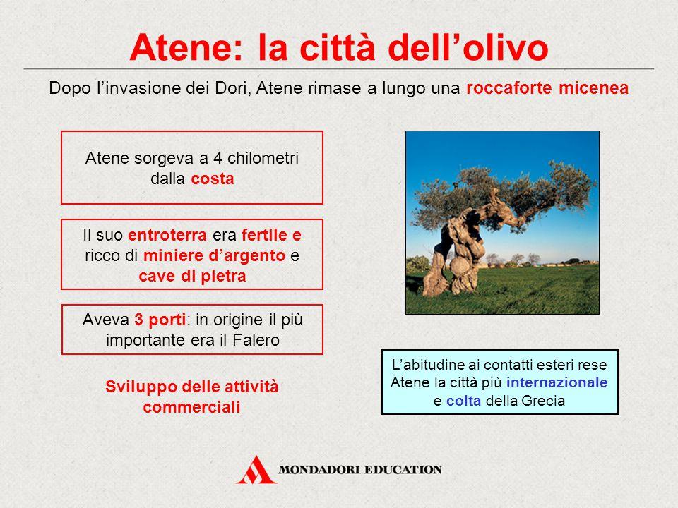 Atene: la città dell'olivo Dopo l'invasione dei Dori, Atene rimase a lungo una roccaforte micenea Sviluppo delle attività commerciali Atene sorgeva a