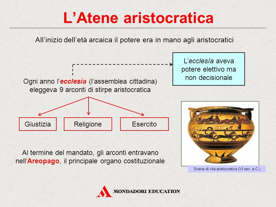 L'Atene aristocratica All'inizio dell'età arcaica il potere era in mano agli aristocratici Al termine del mandato, gli arconti entravano nell'Areopago