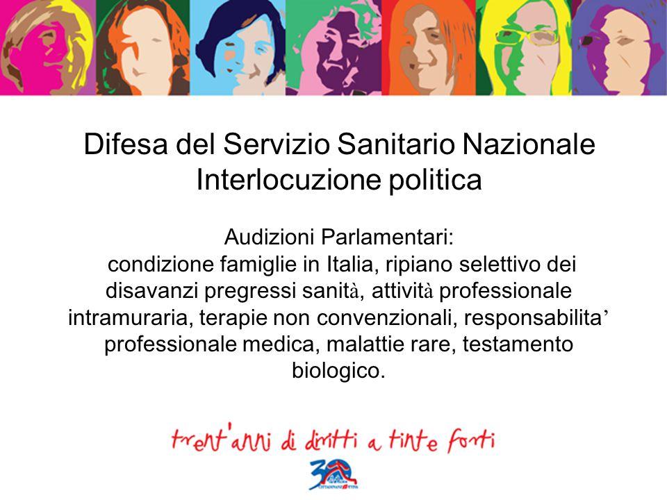 Difesa del Servizio Sanitario Nazionale Interlocuzione politica Audizioni Parlamentari: condizione famiglie in Italia, ripiano selettivo dei disavanzi