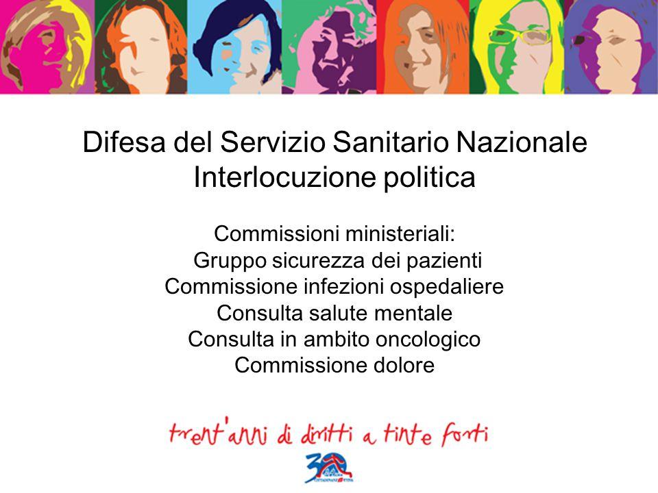 Difesa del Servizio Sanitario Nazionale Interlocuzione politica Commissioni ministeriali: Gruppo sicurezza dei pazienti Commissione infezioni ospedali