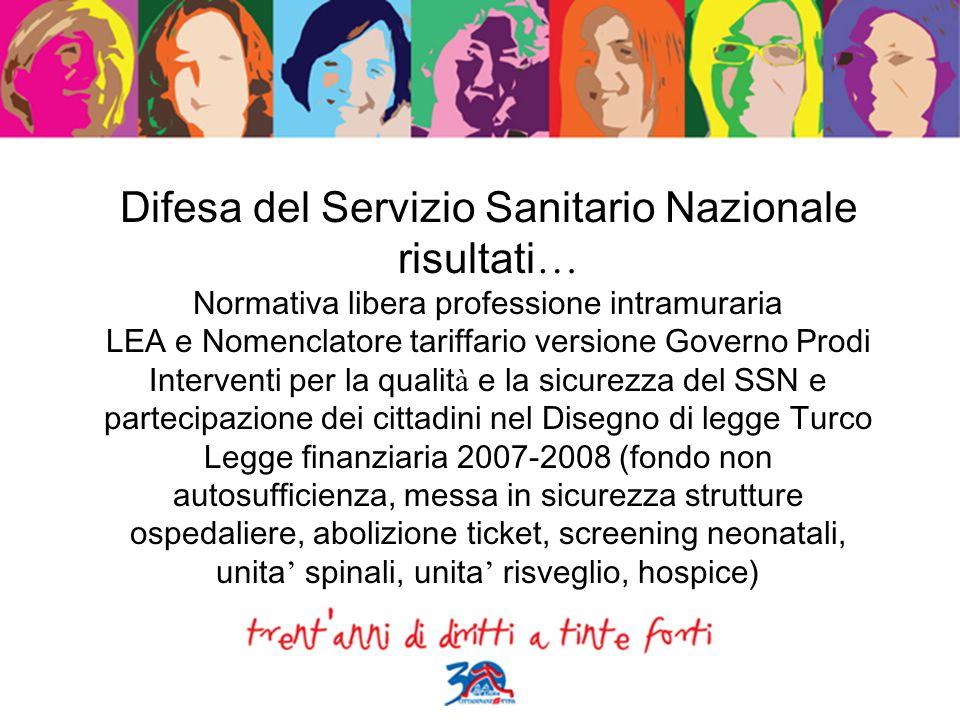 Difesa del Servizio Sanitario Nazionale risultati … Normativa libera professione intramuraria LEA e Nomenclatore tariffario versione Governo Prodi Int