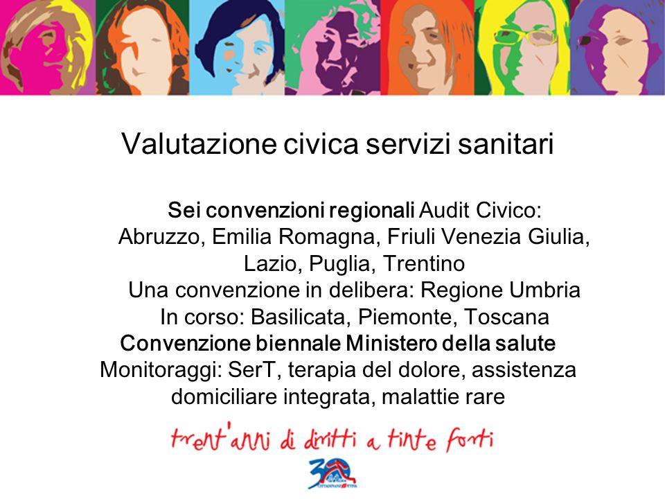 Valutazione civica servizi sanitari Sei convenzioni regionali Audit Civico: Abruzzo, Emilia Romagna, Friuli Venezia Giulia, Lazio, Puglia, Trentino Un