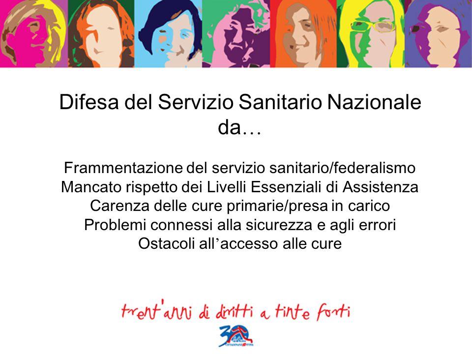 Difesa del Servizio Sanitario Nazionale da … Frammentazione del servizio sanitario/federalismo Mancato rispetto dei Livelli Essenziali di Assistenza C
