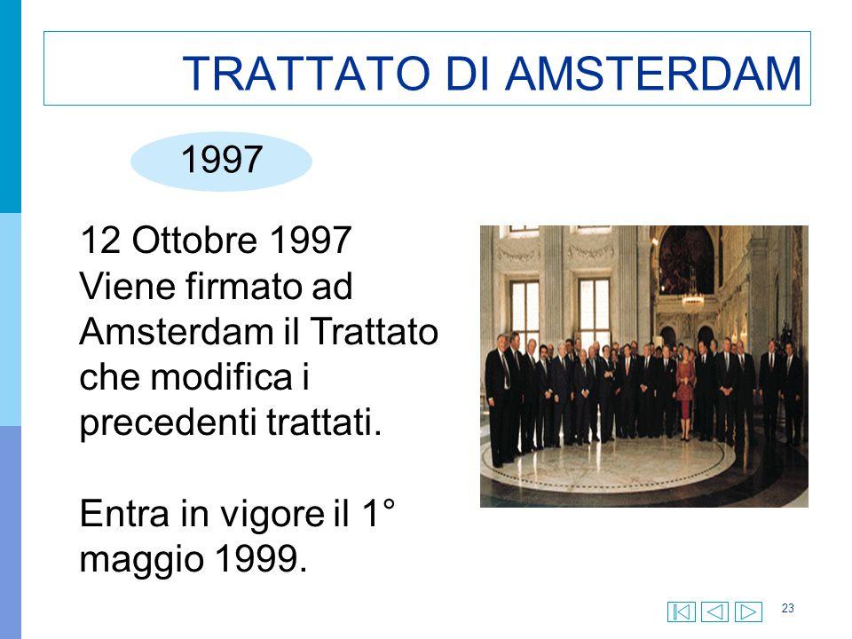 23 TRATTATO DI AMSTERDAM 1997 12 Ottobre 1997 Viene firmato ad Amsterdam il Trattato che modifica i precedenti trattati. Entra in vigore il 1° maggio