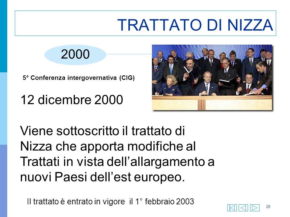 26 TRATTATO DI NIZZA 2000 12 dicembre 2000 Viene sottoscritto il trattato di Nizza che apporta modifiche al Trattati in vista dell'allargamento a nuov