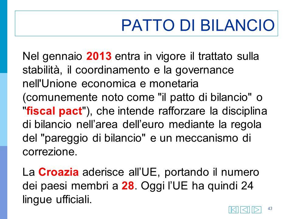 43 PATTO DI BILANCIO Nel gennaio 2013 entra in vigore il trattato sulla stabilità, il coordinamento e la governance nell'Unione economica e monetaria