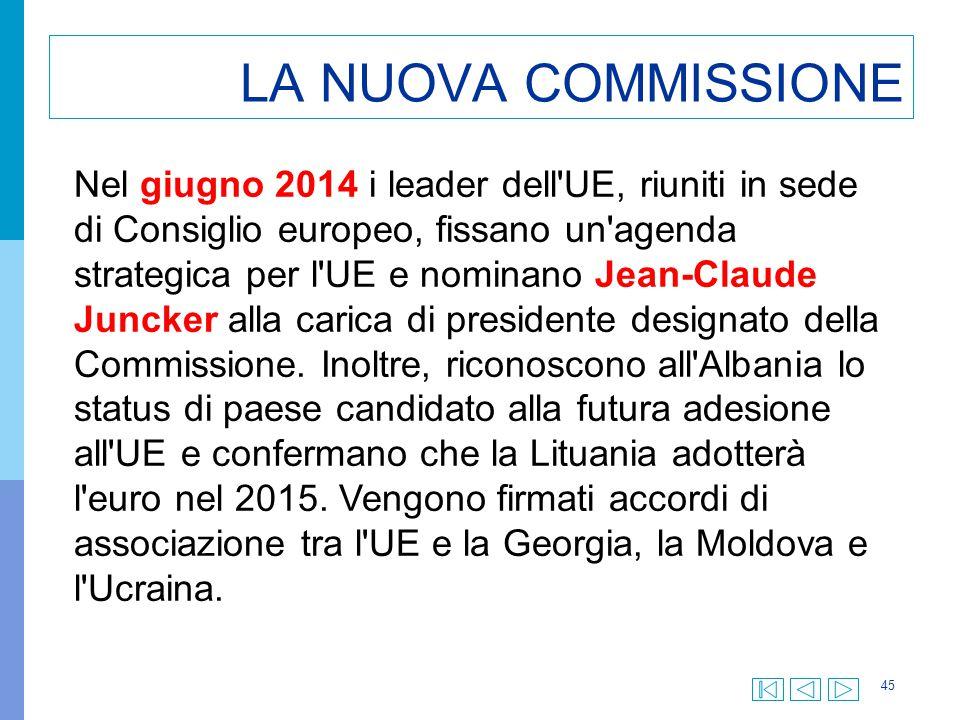 45 LA NUOVA COMMISSIONE Nel giugno 2014 i leader dell'UE, riuniti in sede di Consiglio europeo, fissano un'agenda strategica per l'UE e nominano Jean-