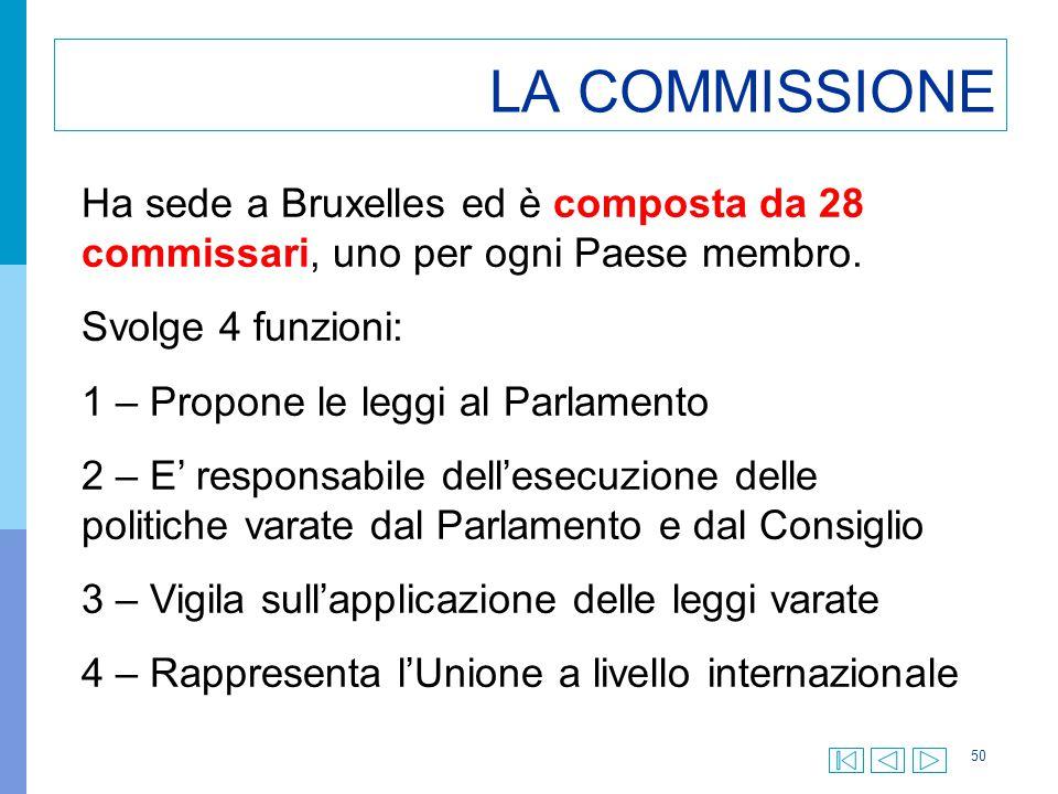 50 LA COMMISSIONE Ha sede a Bruxelles ed è composta da 28 commissari, uno per ogni Paese membro. Svolge 4 funzioni: 1 – Propone le leggi al Parlamento