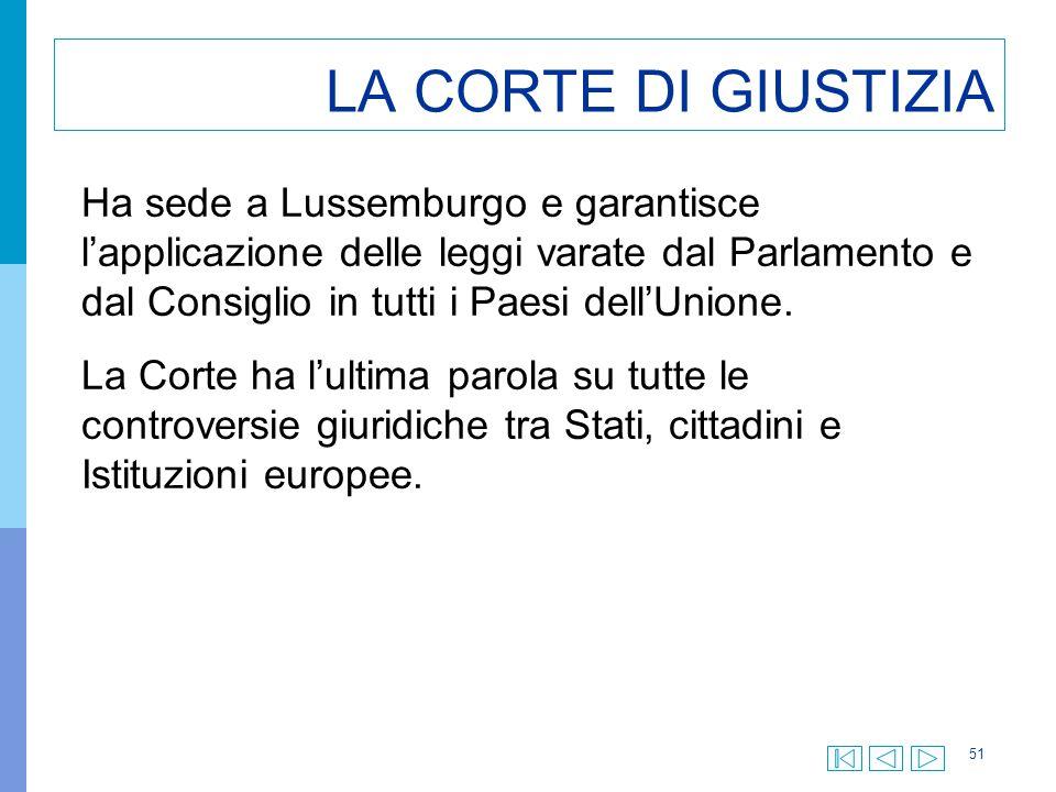 51 LA CORTE DI GIUSTIZIA Ha sede a Lussemburgo e garantisce l'applicazione delle leggi varate dal Parlamento e dal Consiglio in tutti i Paesi dell'Uni