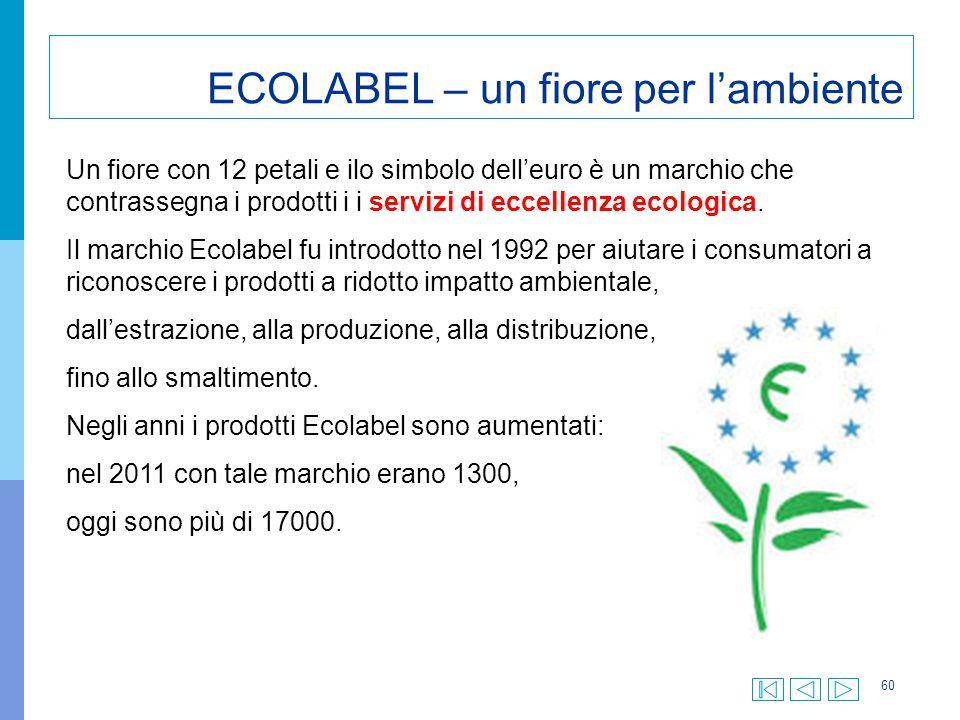 60 ECOLABEL – un fiore per l'ambiente Un fiore con 12 petali e ilo simbolo dell'euro è un marchio che contrassegna i prodotti i i servizi di eccellenz