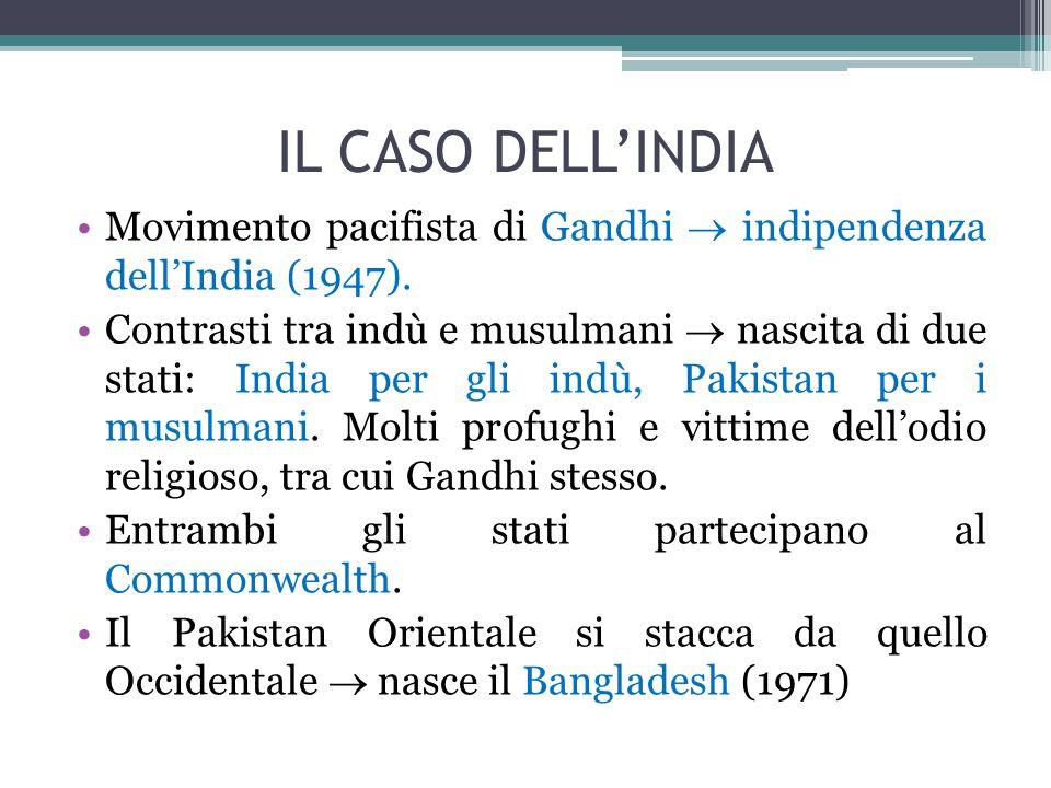IL CASO DELL'INDIA Movimento pacifista di Gandhi  indipendenza dell'India (1947). Contrasti tra indù e musulmani  nascita di due stati: India per gl