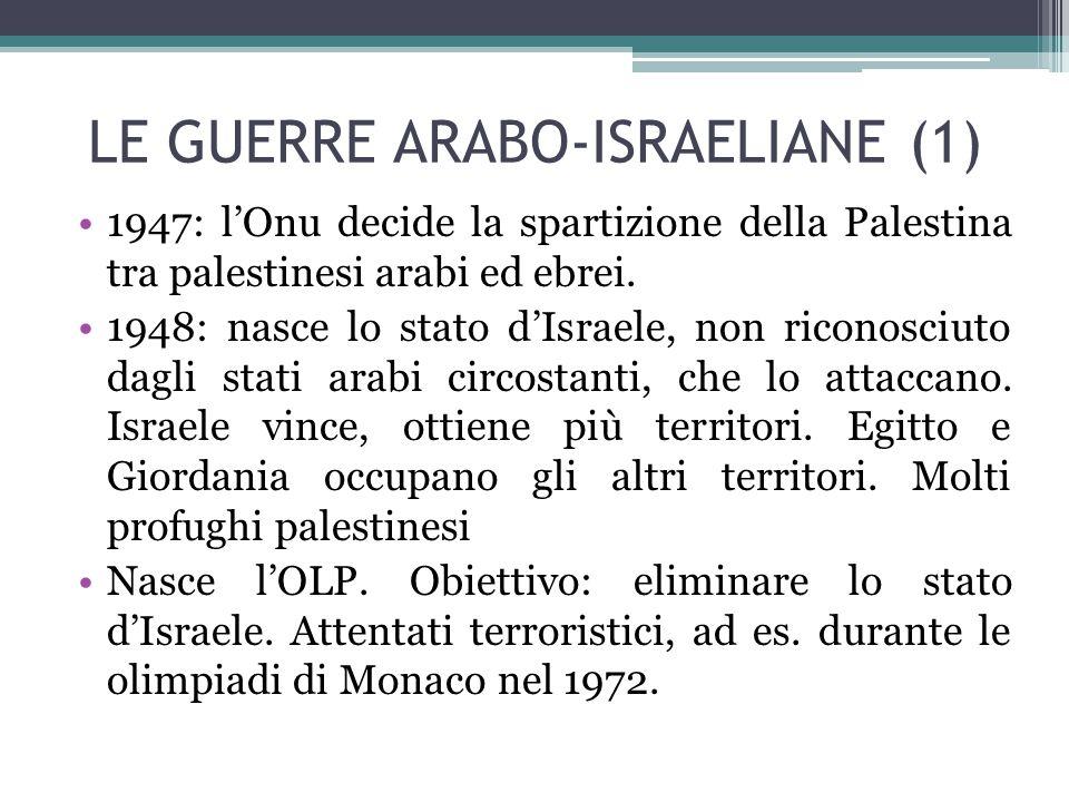 LE GUERRE ARABO-ISRAELIANE (1) 1947: l'Onu decide la spartizione della Palestina tra palestinesi arabi ed ebrei. 1948: nasce lo stato d'Israele, non r