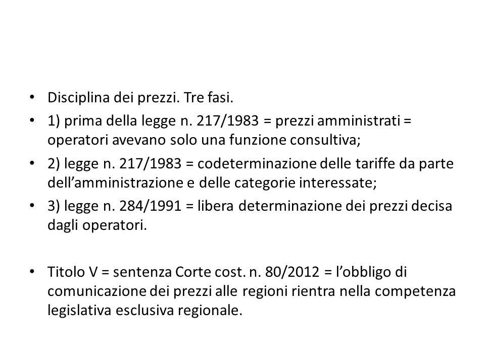 Disciplina dei prezzi. Tre fasi. 1) prima della legge n. 217/1983 = prezzi amministrati = operatori avevano solo una funzione consultiva; 2) legge n.