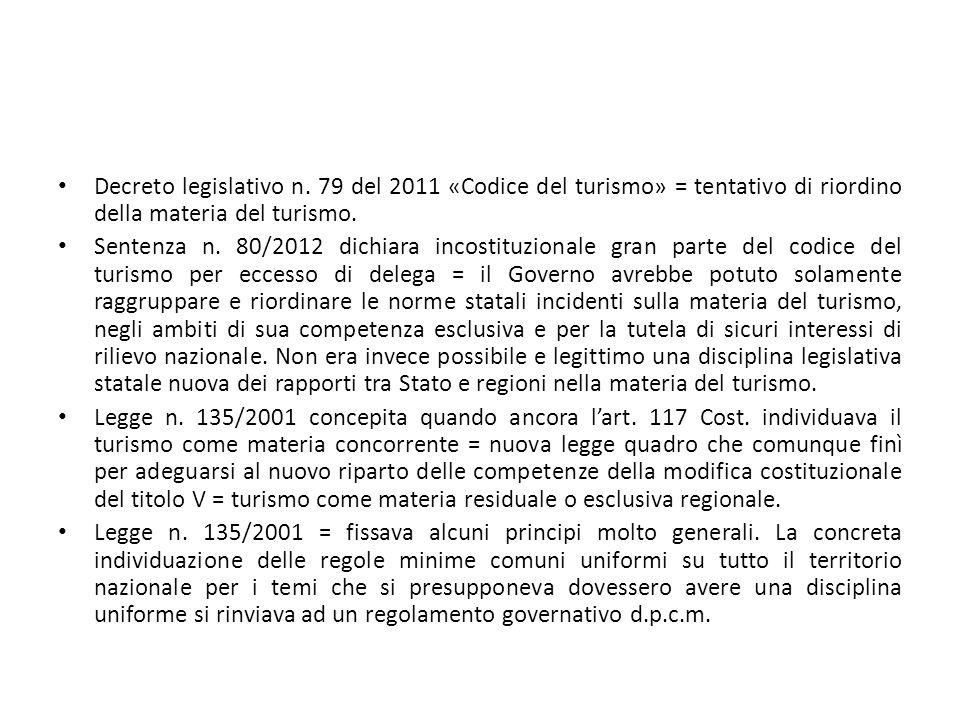Decreto legislativo n. 79 del 2011 «Codice del turismo» = tentativo di riordino della materia del turismo. Sentenza n. 80/2012 dichiara incostituziona