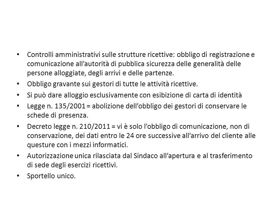 Controlli amministrativi sulle strutture ricettive: obbligo di registrazione e comunicazione all'autorità di pubblica sicurezza delle generalità delle