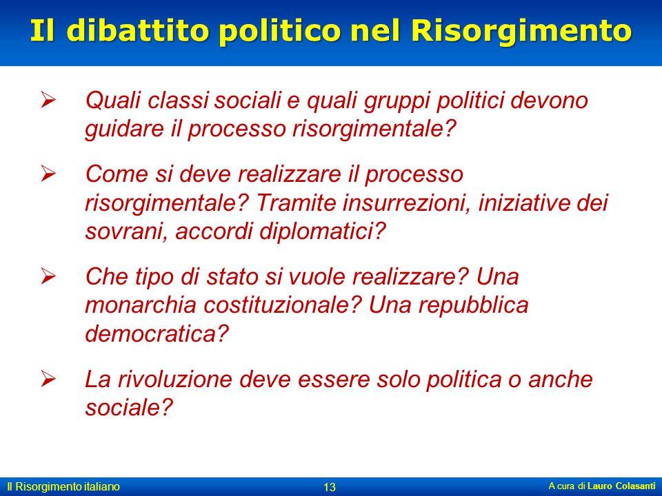 Il dibattito politico nel Risorgimento  Quali classi sociali e quali gruppi politici devono guidare il processo risorgimentale?  Come si deve realiz