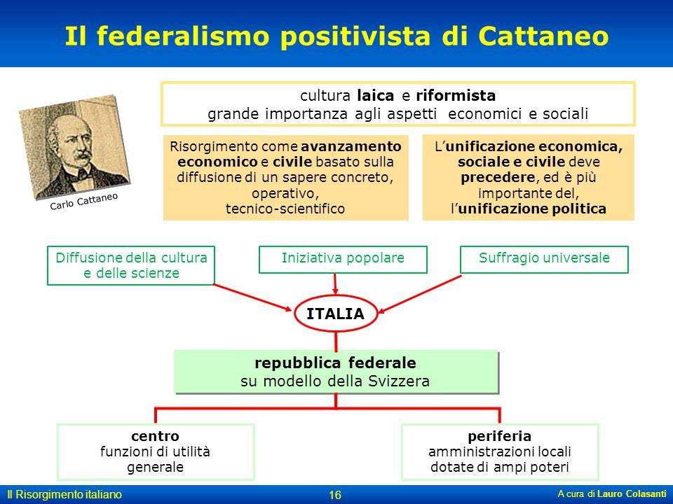 A cura di Lauro Colasanti 16 Il Risorgimento italiano cultura laica e riformista grande importanza agli aspetti economici e sociali Il federalismo pos