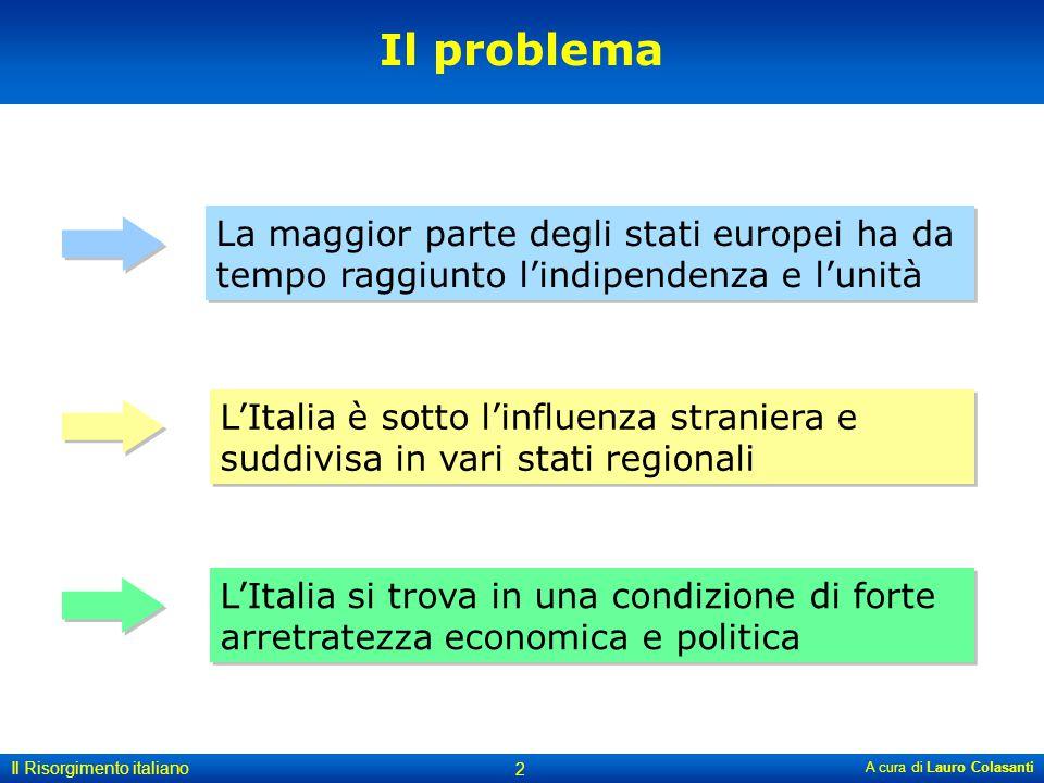 A cura di Lauro Colasanti Il Risorgimento italiano 2 La maggior parte degli stati europei ha da tempo raggiunto l'indipendenza e l'unità L'Italia è so