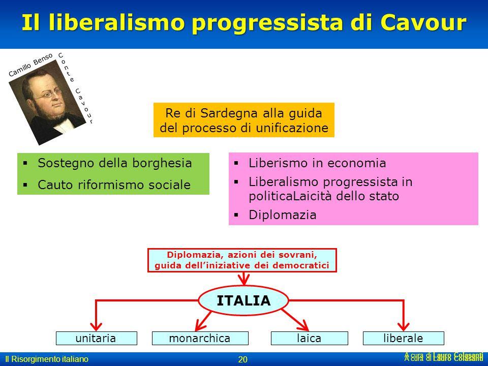 Il liberalismo progressista di Cavour A cura di Lauro Colasanti 20 Il Risorgimento italiano Re di Sardegna alla guida del processo di unificazione A c