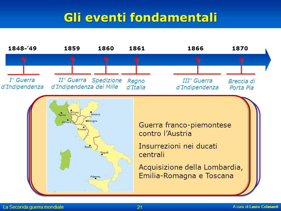 Italia alleata della Prussia contro l'Austria. L'Austria cede il Veneto al Regno d'Italia Garibaldi alla testa dei suoi volontari conquista il Regno d