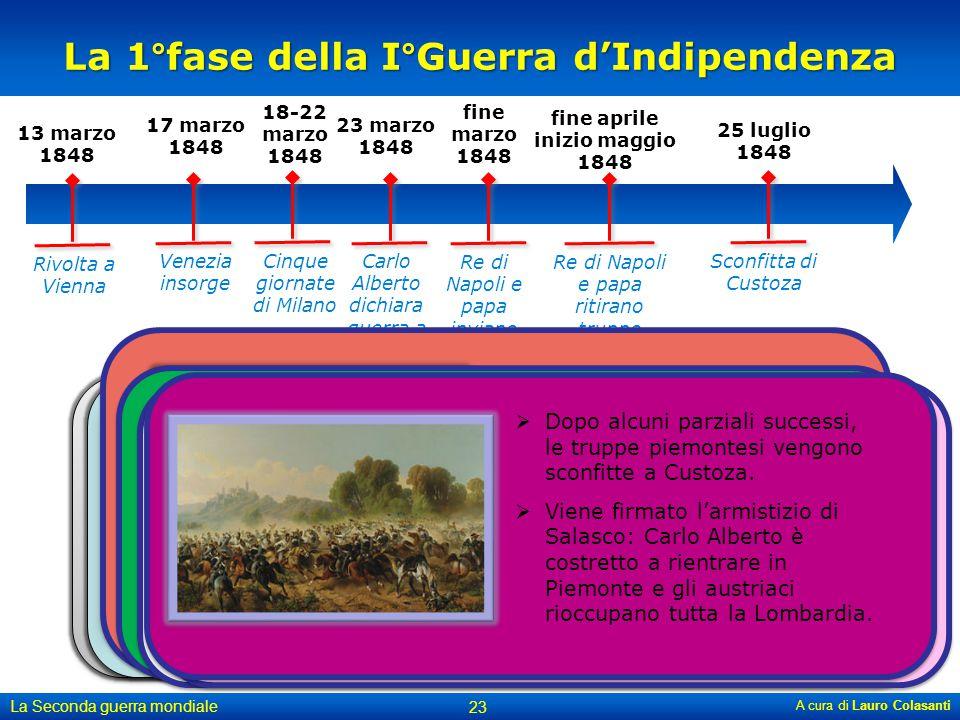 A cura di Lauro Colasanti La Seconda guerra mondiale 23 13 marzo 1848 Rivolta a Vienna 18-22 marzo 1848 Cinque giornate di Milano 17 marzo 1848 Venezi