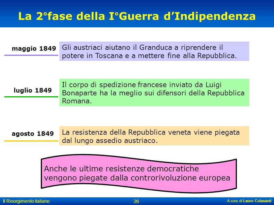 A cura di Lauro Colasanti 26 Il Risorgimento italiano La 2°fase della I°Guerra d'Indipendenza La resistenza della Repubblica veneta viene piegata dal