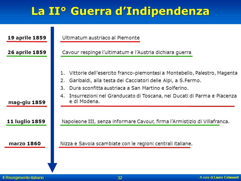 La II° Guerra d'Indipendenza A cura di Lauro Colasanti 32 Il Risorgimento italiano 19 aprile 1859Ultimatum austriaco al Piemonte 26 aprile 1859Cavour