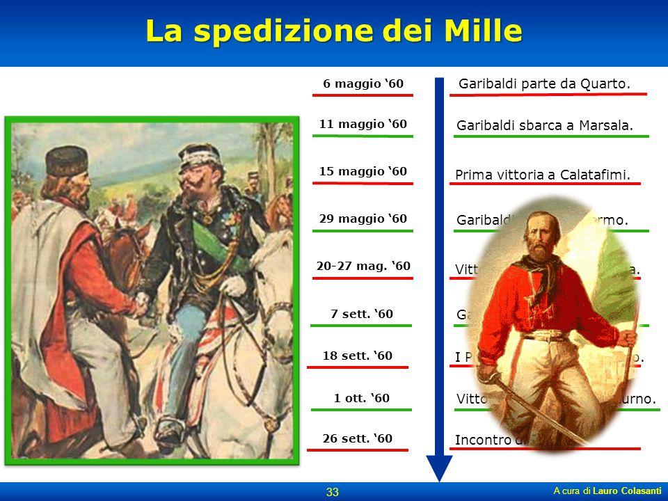 La spedizione dei Mille A cura di Lauro Colasanti 33 6 maggio '60 11 maggio '60 15 maggio '60 7 sett. '60 18 sett. '60 Garibaldi parte da Quarto. Gari