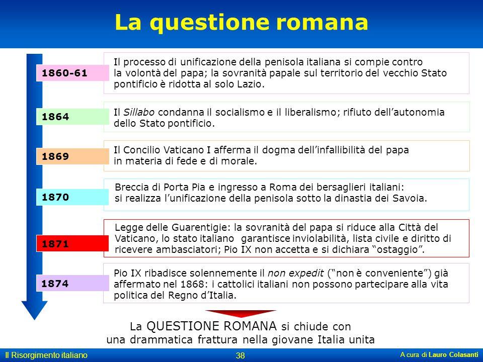 A cura di Lauro Colasanti 38 Il Risorgimento italiano La questione romana Il processo di unificazione della penisola italiana si compie contro la volo