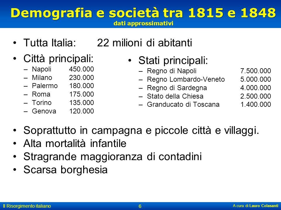 Demografia e società tra 1815 e 1848 dati approssimativi Tutta Italia: 22 milioni di abitanti Città principali: –Napoli 450.000 –Milano 230.000 –Paler