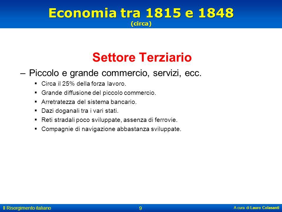 Economia tra 1815 e 1848 (circa) Settore Terziario –Piccolo e grande commercio, servizi, ecc.  Circa il 25% della forza lavoro.  Grande diffusione d