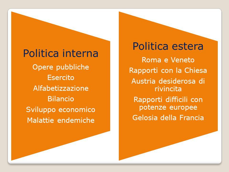 Politica interna Opere pubbliche Esercito Alfabetizzazione Bilancio Sviluppo economico Malattie endemiche Politica estera Roma e Veneto Rapporti con l