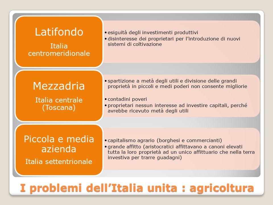 I problemi dell'Italia unita : agricoltura esiguità degli investimenti produttivi disinteresse dei proprietari per l'introduzione di nuovi sistemi di
