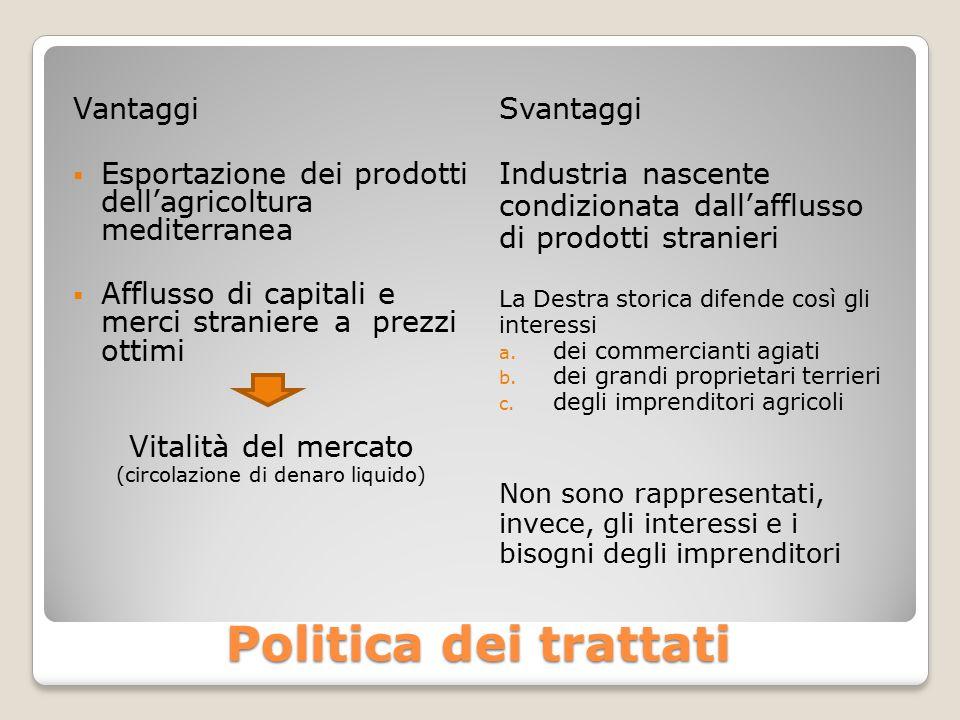 Politica dei trattati Vantaggi  Esportazione dei prodotti dell'agricoltura mediterranea  Afflusso di capitali e merci straniere a prezzi ottimi Vita