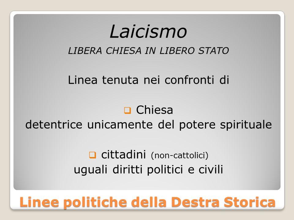 Linee politiche della Destra Storica Laicismo LIBERA CHIESA IN LIBERO STATO Linea tenuta nei confronti di  Chiesa detentrice unicamente del potere sp